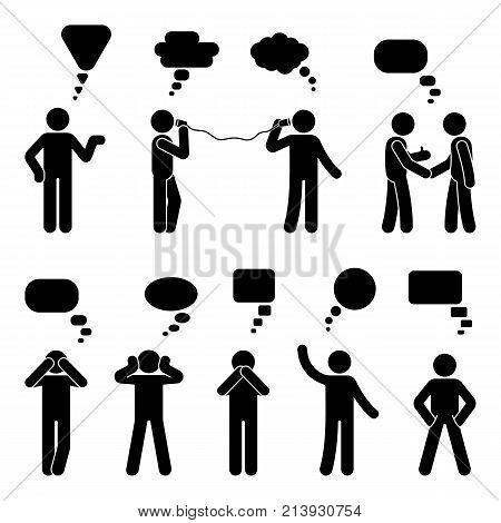 Stick figure dialog speech bubbles set. Talking thinking communicating body language man conversation icon pictogram