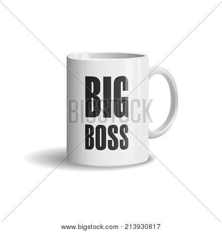 Photo realistic white cup on white background. Big Boss. Design Mock Up Template. Vector illustration