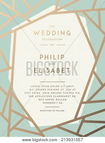 Golden Wedding Invitation with abstract modern pattern. Vector template