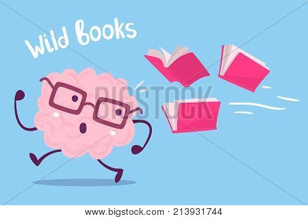 Vector Illustration Of Pink Color Brain With Glasses Running Away From Books Flying Behind On Blue B