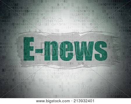 News concept: Painted green text E-news on Digital Data Paper background with   Tag Cloud