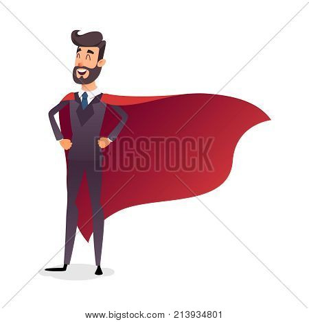 Cartoon superhero standing with cape waving in the wind. Successful happy hero businessman. Concept of success, leadership and victory in business. Young entrepreneur in a superman's cloak