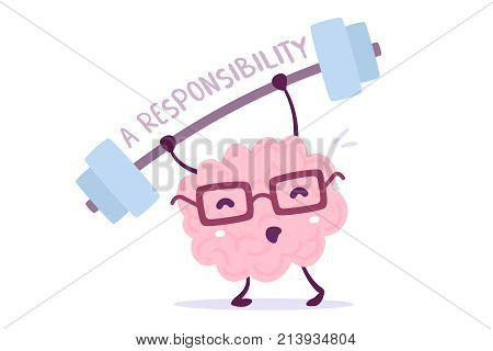 Great Responsibility Of Cartoon Brain Concept. Vector Illustration Of Pink Color Smile Brain With Gl