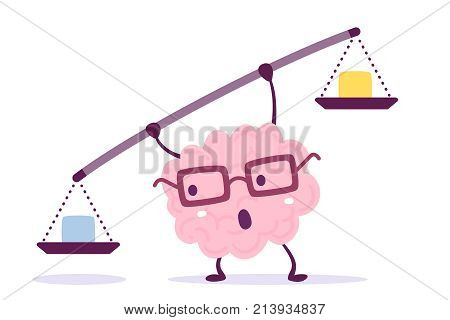 Vector Illustration Of Pink Color Human Brain With Glasses Holding A Scales In Hands On White Backgr