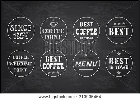 Set of vintage coffee circle labels hand drawn on blackboard stock vector illustration.