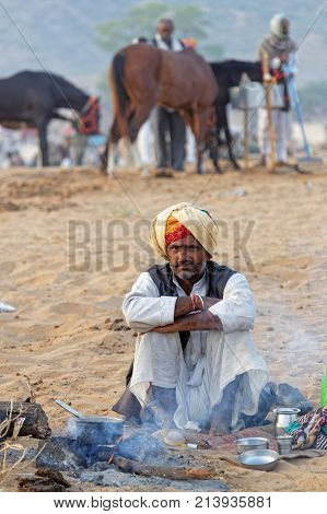 Pushkar, India, October 29, 2017 : Farmers Gather On The Festival. Pushkar Camel Fair Is One Of The