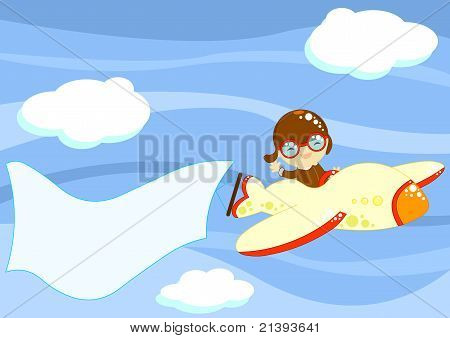 cute smiling little boy flying among clouds up in the sky with a toy airplane poster