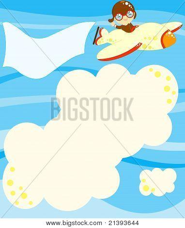 boy in a toy airplane
