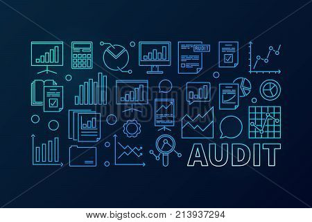 Audit concept blue business illustration. Vector financial audit horizontal linear banner on dark background