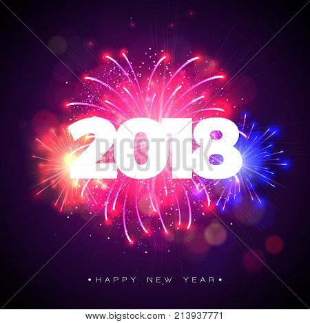 Happy New Year 2018 Illustration with Firework and 3d Text on Shiny Blue Background. Vector Holiday Design for Premium Greeting Card, Party Invitation or Promo Banner