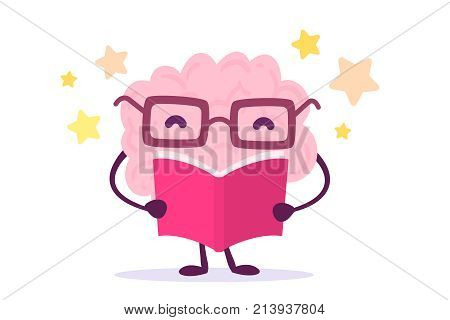 Vector Illustration Of Pink Color Happy Brain With Glasses Reading A Book On White Background With S