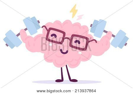 Vector Illustration Of Pink Color Smile Brain With Glasses Easy Lifts Dumbbells On White Background