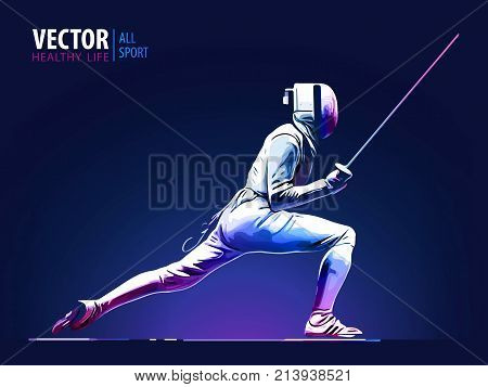 Fencer. Man wearing fencing suit practicing with sword. Sports arena and lense-flares. Neon effect. Vector illustration