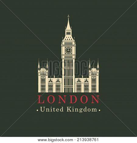 Vector travel banner. The Big Ben in London Palace of Westminster United Kingdom. UK landmark