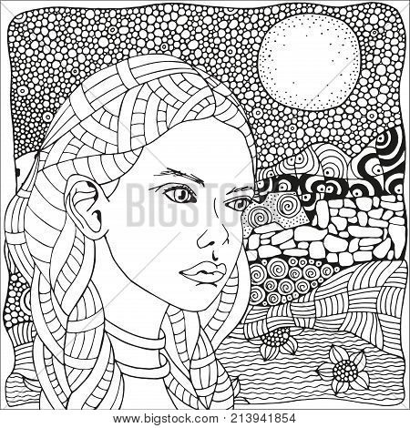 Arabic Woman. Coloring Book Page For Adult. Black And White. Doodle, Zentangle Style. Doodle, Boho,