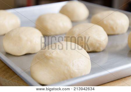Bun cooking, bun dough on baking tray prepare for bake