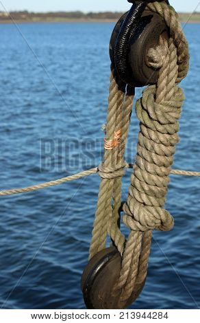 Rope And Pulley On Sailing Ship