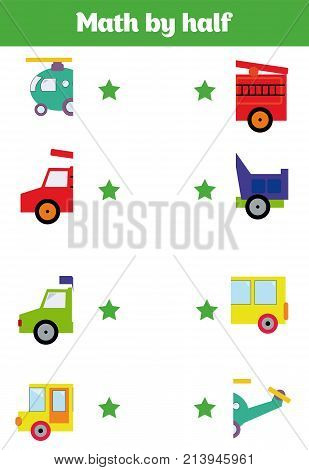 Cartoon Illustration of Preschool Education Activity with Matching Halves Game Matching game for children