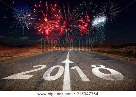 2018 New Year Celebration Fireworks On The Road