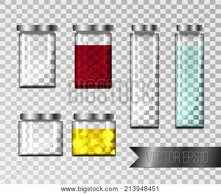Set of glass jars and glass jars with jam. Realistic glass jars of different sizes on a transparent background. Containers for drinks. Vector illustration.