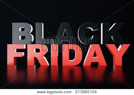 3D Rendering Black Friday, sale message for shop. Business hopping store banner for Black Friday. Black Friday sale inscription design template. Banner for your design.