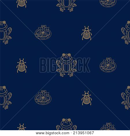 Dark blue and gold outline frog on pond seamless pattern. Trendy glam wallpaper texture vector with line insects for wallaper.