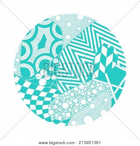 Circle illustration with different ornaments for design of coaster, cd disk,  flyer, cover, print for t-short, etc. Vector illustration.