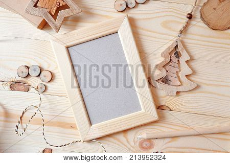 Wooden frame Christmas mockup, stock photography. Design works presentations, for bloggers and social media.