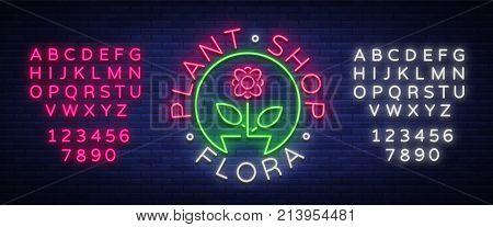Flower shop, Plants, Florist, Flora emblem, sign, neon logo. Template design element business, vivid advertising related to flower delivery, gardening florist. Editing text neon sign. Neon alphabet.