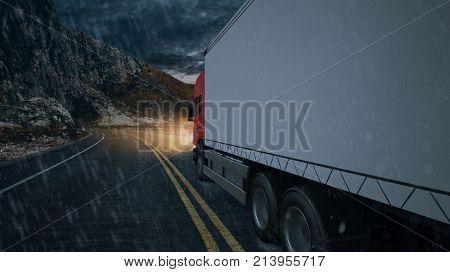 Delivery service van driving in roadway with rain (3D Rendering)