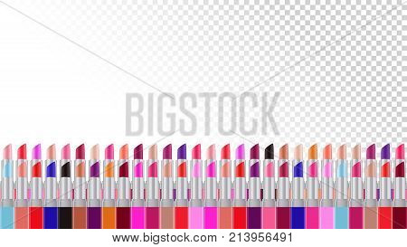 Lipstick background. Beauty background for woman. Colorful lipsticks background. Cosmetic products. Vector illustration can be used for web design printed products about beauty for woman.