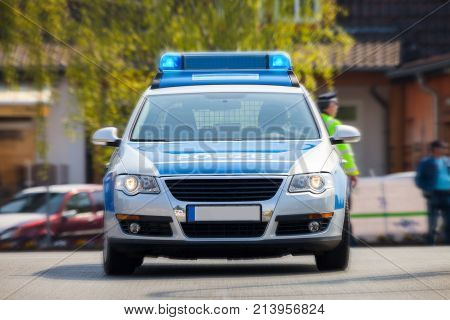 german police car on street Polizei is the german word for police