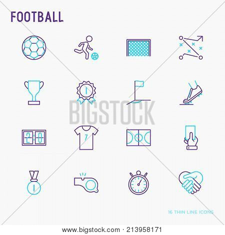 Football thin line icons set: player, whistle, soccer, goal, strategy, stopwatch, football boots, score. Vector illustration.