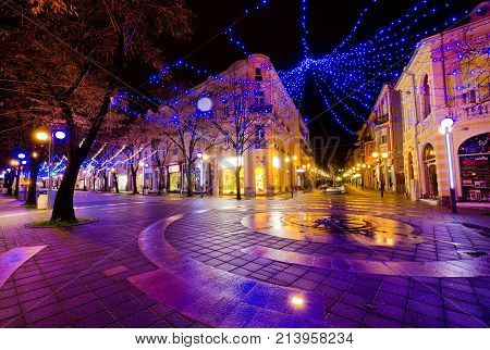 Burgas city Bulgaria - December 10 2012. Christmas decoration at night