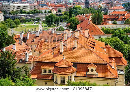Lesser Town Houses In Prague, Czech Republic, Top View