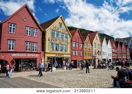 People On Square In City Center Of Bergen, Norway