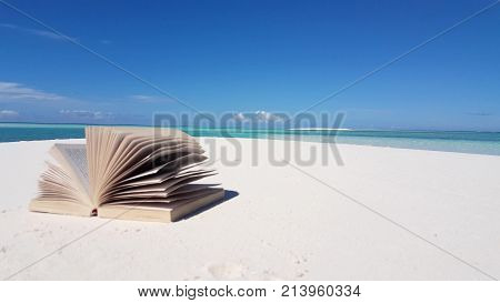 Maldives beautiful beach background white sandy tropical paradise island with blue sky sea water ocean   book