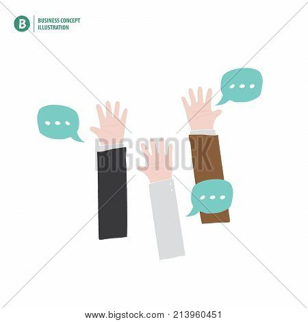 Hands Up Of Businessman Meaning Vote Or Asking Or Answering Or Agreement On White Background Illustr