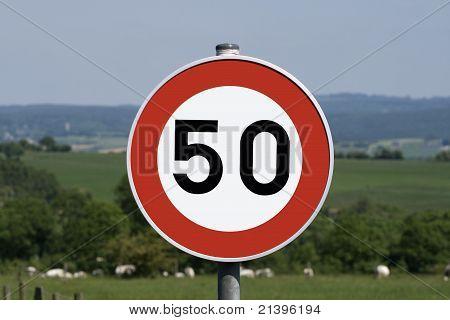 50 km/h speed limit sign.