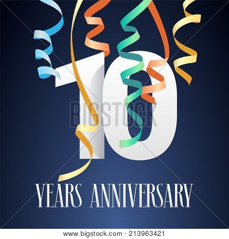 10 years anniversary celebration vector icon logo. Template design element with modern paper cut out number and garlands for 10th anniversary card