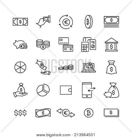 Simple set of finance related outline icons. Elements for mobile concept and web apps. Thin line vector icons for website design and development, app development. Premium pack.