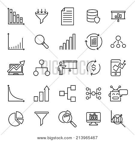 Modern outline style analysis icons collection. Premium quality symbols and sign web logo collection. Pack modern infographic logo and pictogram. Simple chart pictograms on a white background.