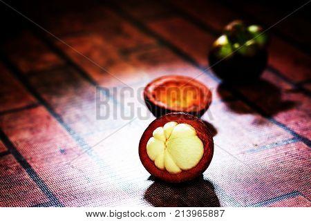 Mangosteen Fruits In Dark Tone