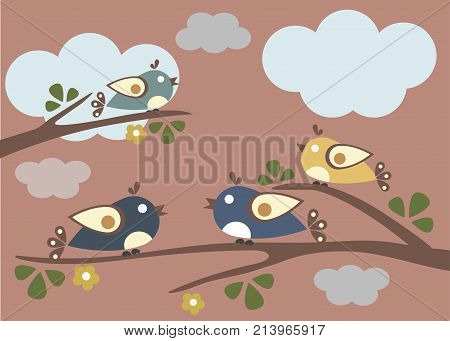Cute Birds tweeting on a tree. Vector Illustration