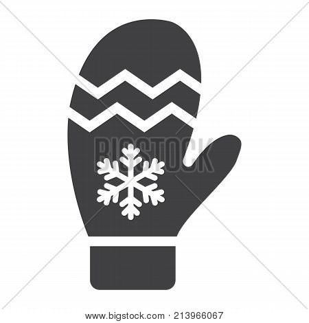Mitten glyph icon, New year and Christmas, xmas sign vector graphics, a solid pattern on a white background, eps 10.