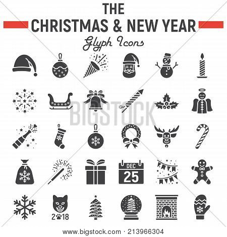 Christmas glyph icon set, new year symbols collection, vector sketches, logo illustrations, holiday signs solid pictograms package isolated on white background, eps 10.