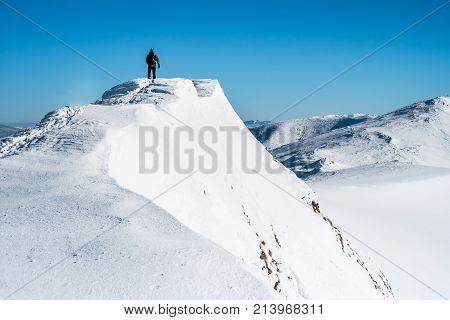Sportsman Go Top Mountain, Man In Mountain,