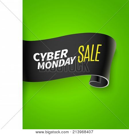 Realistic curved paper banner. Ribbon. Black friday or cyber monday sale. Vector illustration