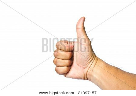 men's hand make thumbs up