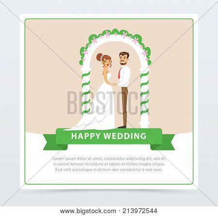 Bride in white wedding dress and groom in black suit under ceremonial arch, happy wedding banner flat vector element for website or mobile app with sample text
